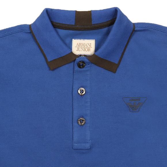 Armani Junior  Boys Blue Tipped Polo Shirt main image