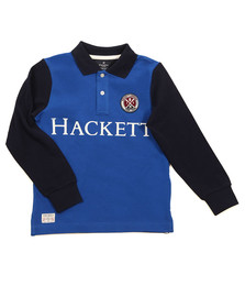 Hackett Boys Blue Long Sleeve Cross Polo Shirt
