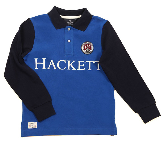 Hackett Boys Blue Long Sleeve Cross Polo Shirt main image