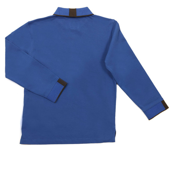 Armani Junior  Boys Blue Long Sleeve Tipped Polo Shirt main image