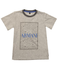 Armani Junior  Boys Grey Logo T Shirt