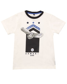 Armani Junior  Boys White Logo T Shirt
