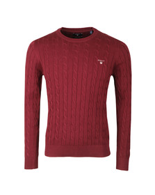 Gant Mens Red Cotton Cable Crew Jumper