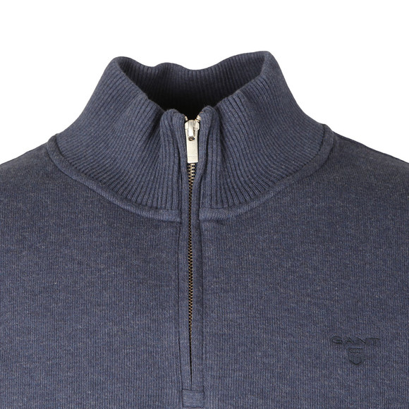 Gant Mens Blue Sacker Rib Half Zip Sweat main image