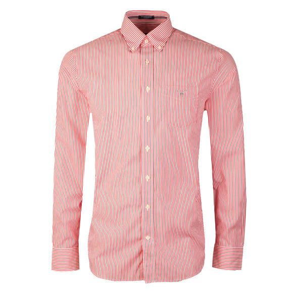 Gant Mens Red Poplin Bankers Stripe Shirt main image