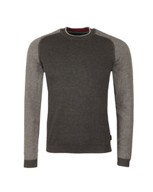 Ted Baker Mens Grey Pepmint LS Herringbone Detail Crew Jumper