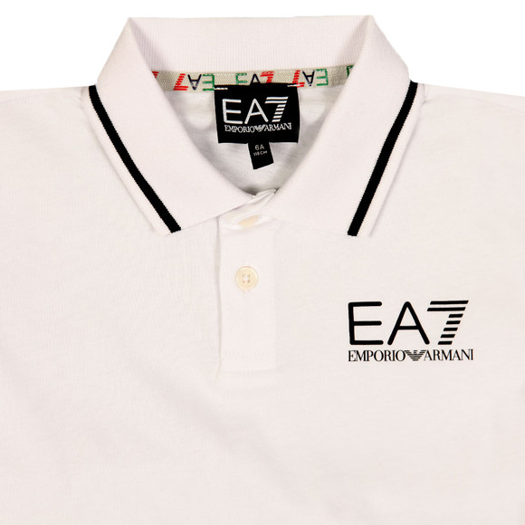 EA7 Emporio Armani Boys White Tipped Polo Shirt main image