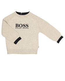 Boss Boys Grey Raglan Logo Jumper