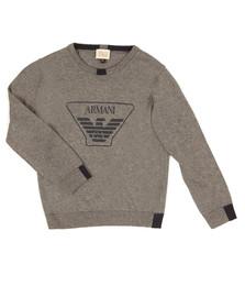 Armani Junior  Boys Grey Large Logo Knitted Jumper
