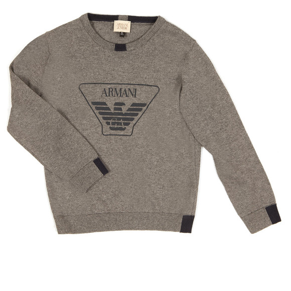 Armani Junior  Boys Grey Large Logo Knitted Jumper main image