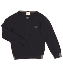 Armani Junior  Boys Blue Logo Knitted Crew Jumper