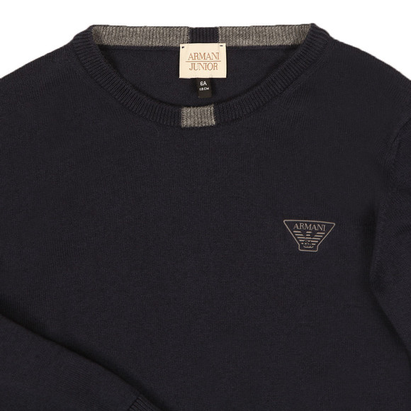Armani Junior  Boys Blue Logo Knitted Crew Jumper main image