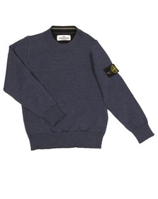 Stone Island Junior  Boys Blue Crew Neck Jumper
