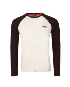 Superdry Mens Grey Orange Label L/S Baseball Tee