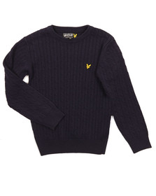 Lyle And Scott Junior Boys Blue Cable Knit Jumper
