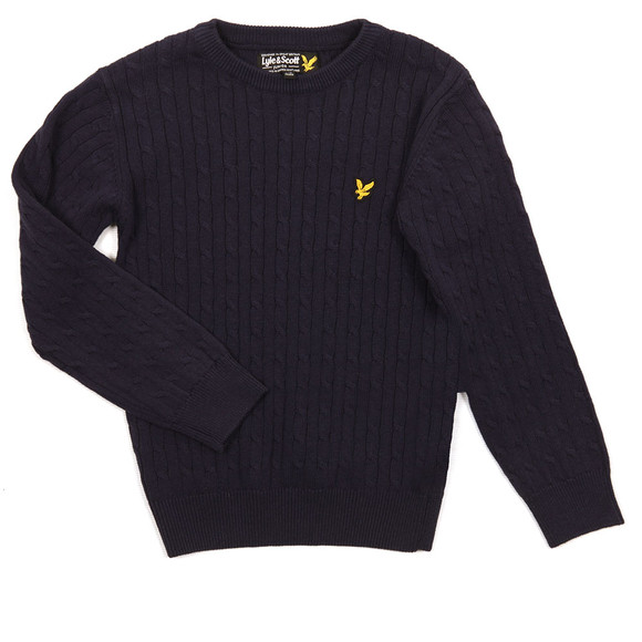 Lyle And Scott Junior Boys Blue Cable Knit Jumper main image