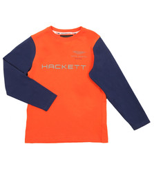 Hackett Boys Orange AMR Long Sleeve T Shirt