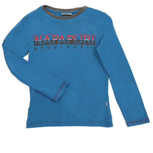 Napapijri Boys Blue Large Logo T Shirt