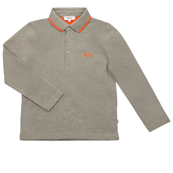 BOSS Boys Grey Long Sleeve Polo Shirt main image