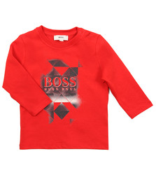 Boss Boys Red Long Sleeve Graphic T Shirt