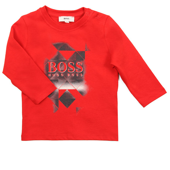 BOSS Boys Red Long Sleeve Graphic T Shirt main image
