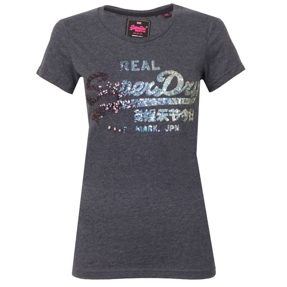 Superdry Womens Blue Vintage Logo Sequin Entry Tee main image