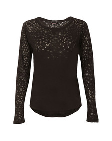 Maison Scotch Womens Black Long Sleeve Burn Out T Shirt