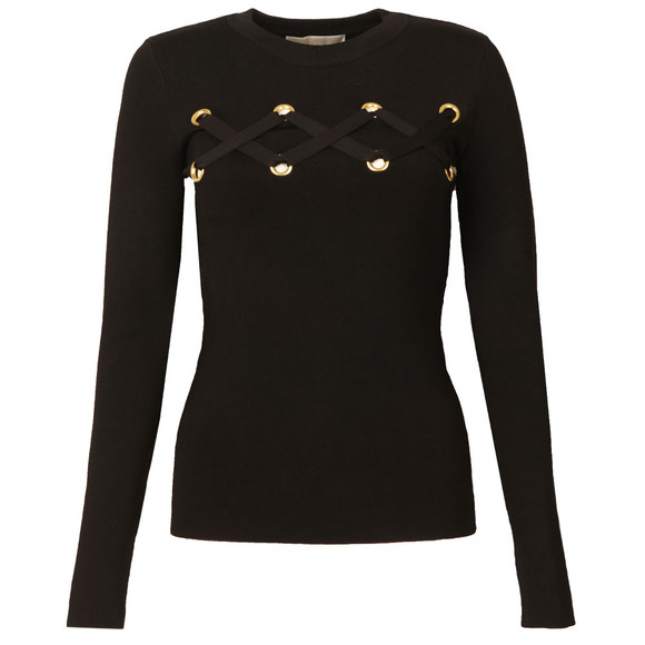 Michael Kors Womens Black Lace Detail Long Sleeve Top main image