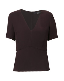 French Connection Womens Blue Esther Crepe Light V Neck Top