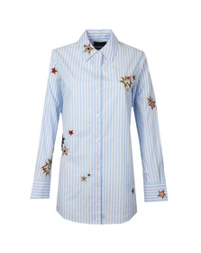 Maison Scotch Womens Blue Long Sleeve Stripe Embroidered Shirt