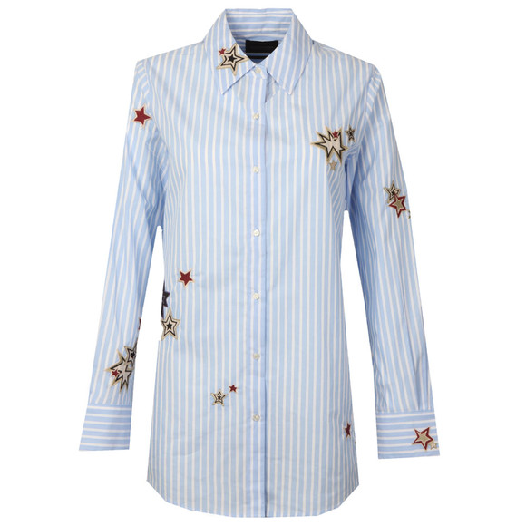Maison Scotch Womens Blue Long Sleeve Stripe Embroidered Shirt main image