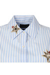 Maison Scotch Womens Blue Long Sleeve Stripe Embroidered Shirt