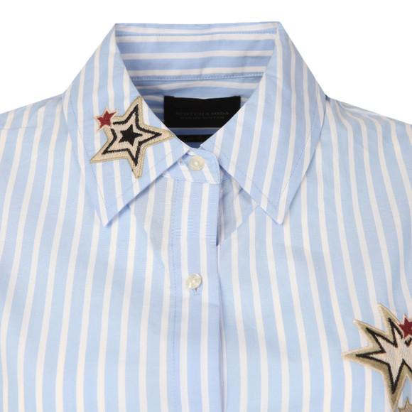 Maison Scotch Womens Blue Long Sleeve Stripe Embroidered Shirt main image