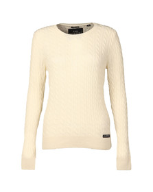Superdry Womens White Luxe Mini Cable Knit