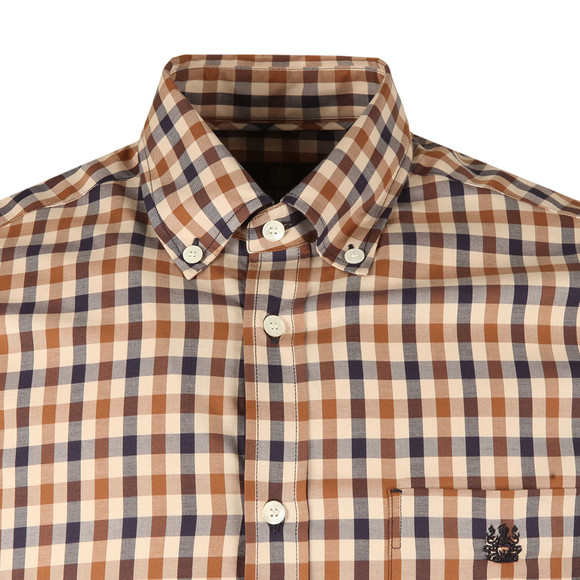 Aquascutum Mens Brown York  Club Check Shirt main image