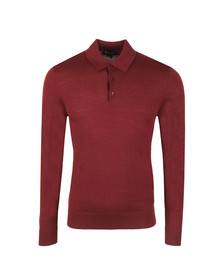 Aquascutum Mens Red Kennington Long Sleeve Knit Polo