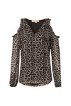 Michael Kors Womens Black Leopard Cold Shoulder Top