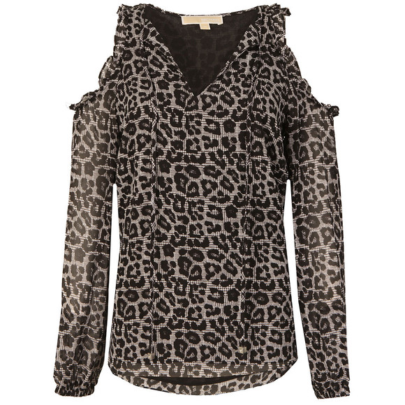 Michael Kors Womens Black Leopard Cold Shoulder Top main image