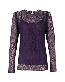 Michael Kors Womens Pink Stretch Lace T Shirt