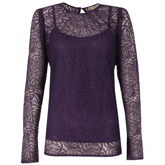 Michael Kors Womens Pink Stretch Lace T Shirt main image