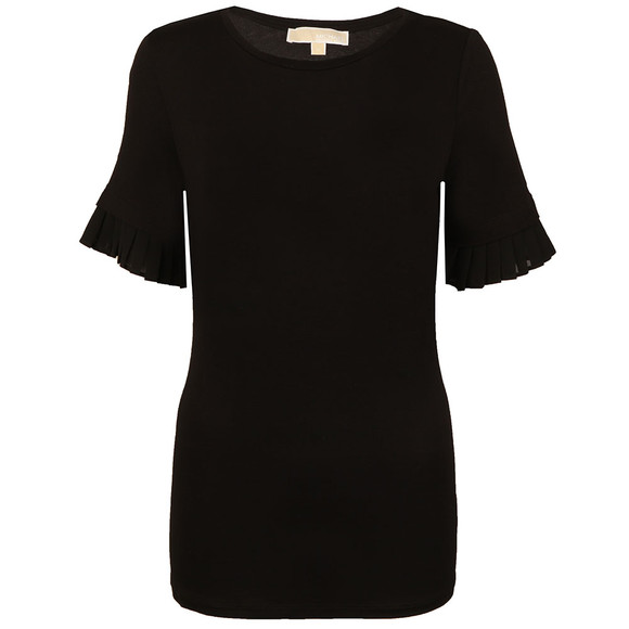 Michael Kors Womens Black Woven Pleated Sleeve T Shirt