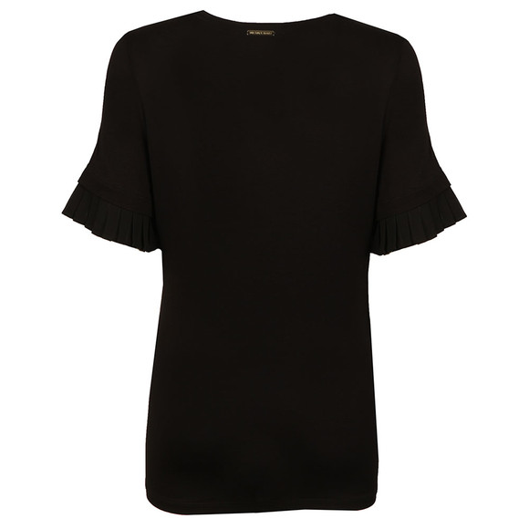 Michael Kors Womens Black Woven Pleated Sleeve T Shirt main image