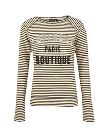 Superdry Womens Black Amour Stripe Graphic Top