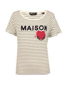 Maison Scotch Womens Off-White Short Sleeve Logo T Shirt