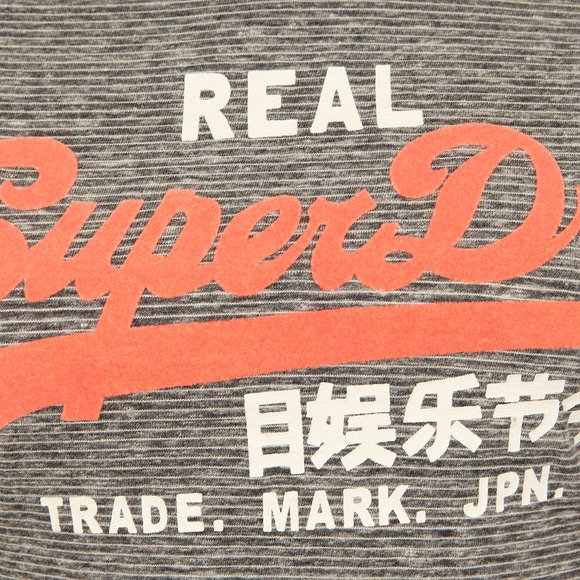 Superdry Womens Grey Vintage Logo LG Stripe Entry Tee main image