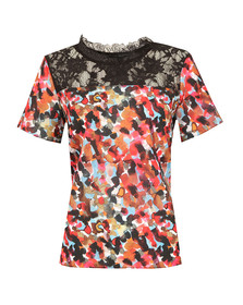 French Connection Womens Red Eleanor Crepe Light Top