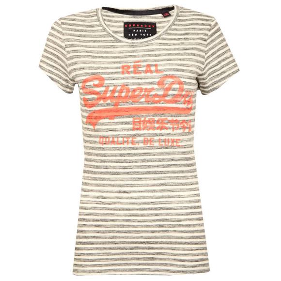 Superdry Womens Grey Vintage Logo Stripe Entry Tee main image
