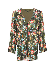 French Connection Womens Green Delphine Crepe Mix V Neck Top