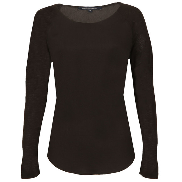 French Connection Womens Black Polly Plains Long Sleeve T-Shirt