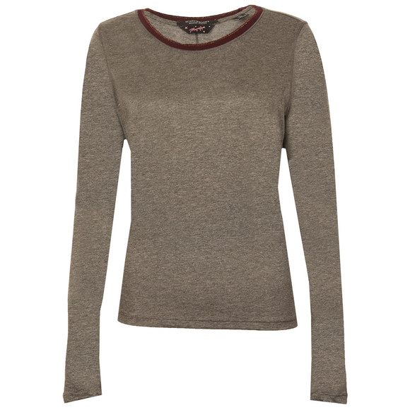 Maison Scotch Womens Grey Longsleeve Tee With Detail main image